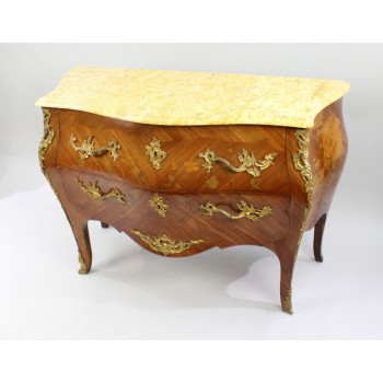 French Bombé Marble Topped Kingwood Commode c.1910