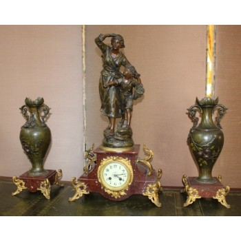 Late 19th c. French Imitation Bronze Spelter & Marble Clock Garniture Set