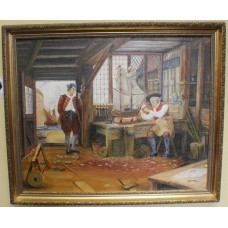 Shipmaker Genre Painting Signed H.Keen Set in Gilt Frame