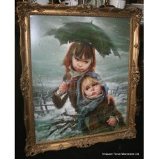 'Children in the Snow' by Armando Gentilini (Italian, 20th c.) Oil on Canvas