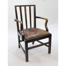 Georgian Oak Leather Seated Country Armchair