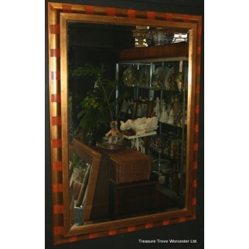 Gilt & Orange Framed Bevel Edged Mirror