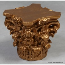 Gilt Corinthian Capital Pedestal Base