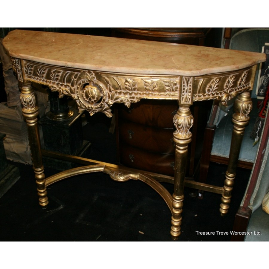 Marble Topped Gilt Coffee Table C 1920: Ornate Gilt Marble Topped Side Table