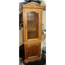 Heavy Reproduction Medium Light Wood Corner Cabinet