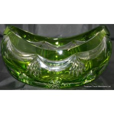 Royal Brierley Green Overlay Crystal Boat Shaped Bowl