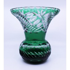 Stourbridge Glass Green Overlay Crystal Splayed Baluster Vase