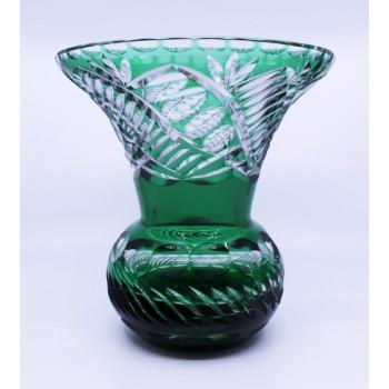Stourbridge Glass Green Overlay Crystal Splayed Baluster Vase