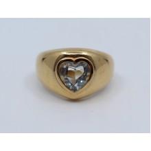 Heart Shaped Aquamarine 14ct Gold Ring
