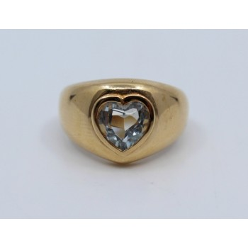 Heart Shaped Aquamarine 14ct Gold Ring