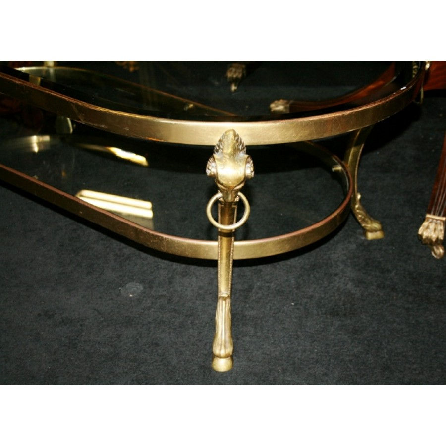 Bronze And Glass Coffee Table: Polished Bronze & Bevelled Glass Coffee Table