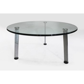 Heavy Designer Glass Topped Chrome Circular Coffee Table