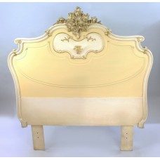 Heavy French Painted Carved Wood Headboard