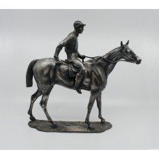 Heavy Pewter Model of Horse & Jockey Fred Archer