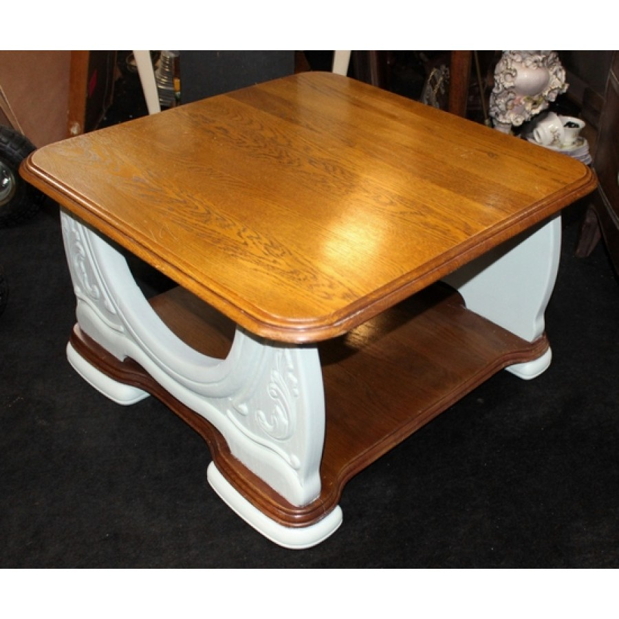 Heavy Solid Carved Wood & French Painted Square Coffee Table