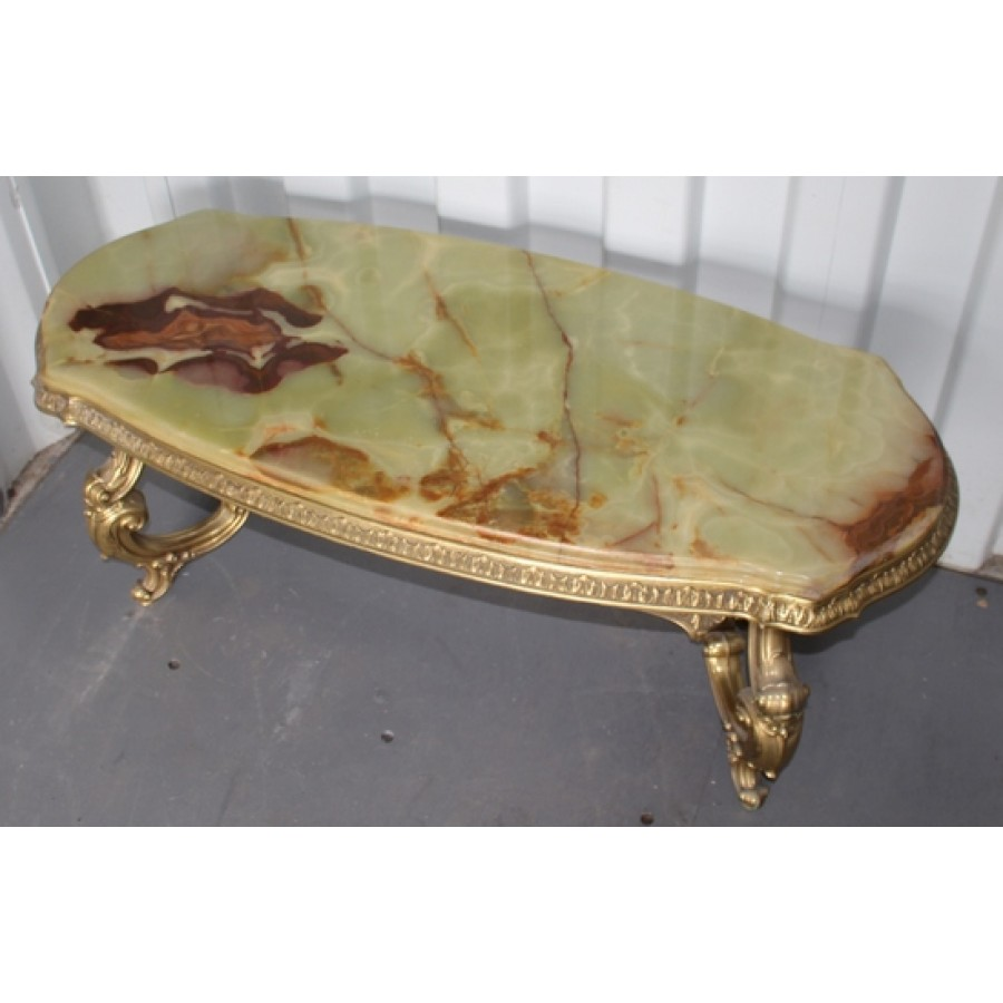 Marble Coffee Table Heavy: Heavy Vintage Brass Coffee Table With Shaped Onyx Top