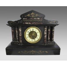 High Victorian Inlaid Black Marble Palladium Mantle Clock