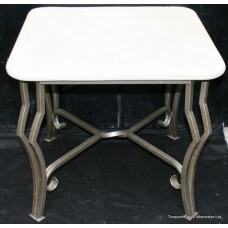 Imitation Marble Metal Base Occasional Table