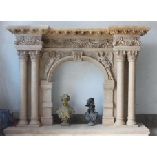 Impressive Carved Stone Period Style Fire Surround & Hearth