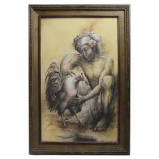 Man & Cockerel by Nyoman Ridi (Indonesian, 1945-)