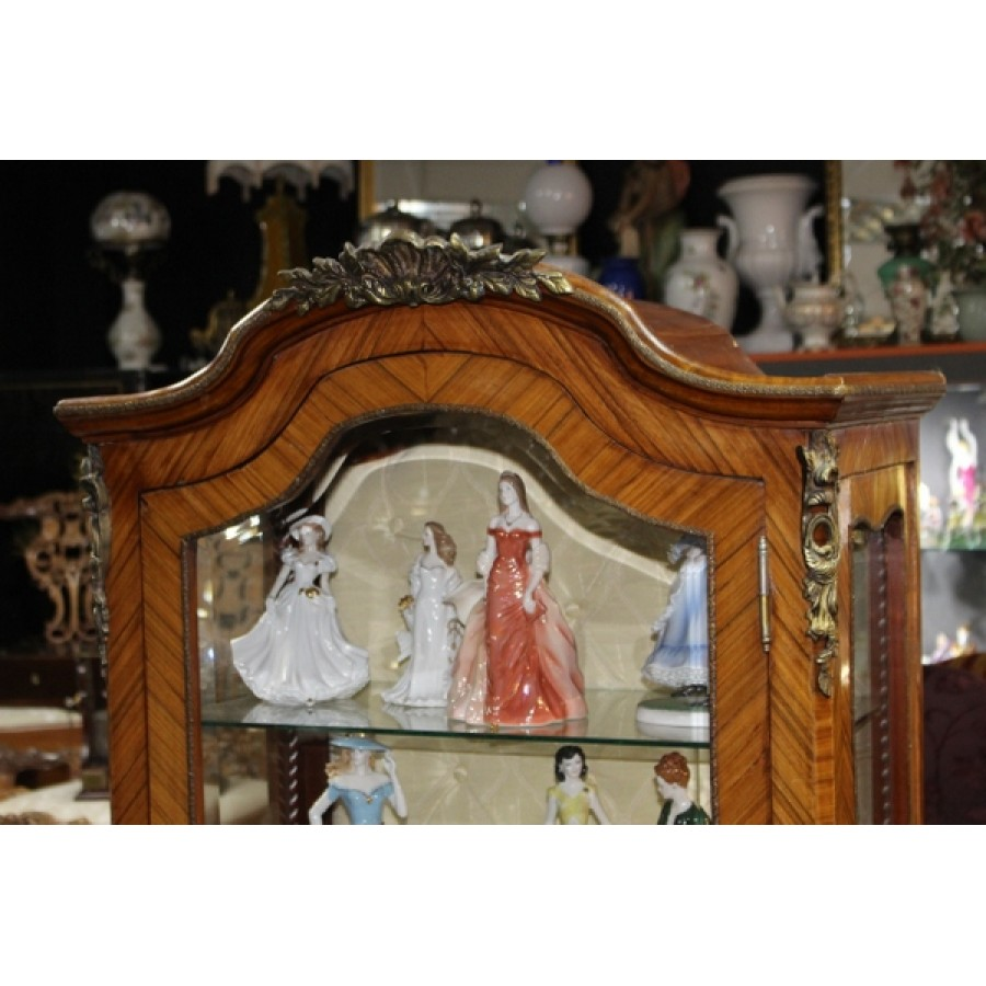 Inlaid Marquetry French Vitrine Cabinet