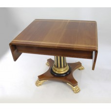 Inlaid Mahogany Sofa Table with Carved Gilt Pedestal