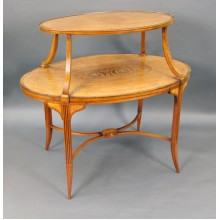 Elegant Inlaid Satinwood Étagère Two Tier Table c.1890