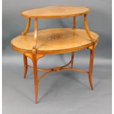 Elegant Inlaid Satinwood Étagère Two Tier Table c.1890