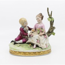 Italian Capodimonte Porcelain Figural Group of Girl & Boy