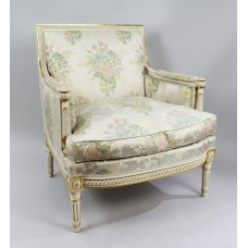 Italian Painted & Gilt Carved Wood Silik Upholstered Armchair