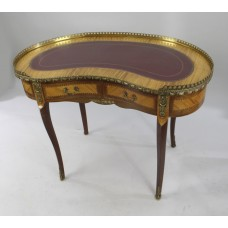French Kidney Shaped Galleried Inlaid Desk