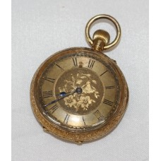 Ladies Engraved 18ct Gold Late Victorian Pocket Watch