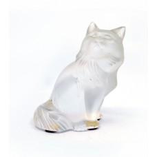 Lalique Cat Glass Sculpture Heggie