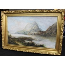 Antique Oil on Canvas Landscape Mountains & Lake Set in Gilt Frame