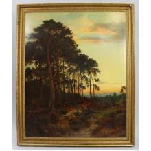 Large Antique Romantic Landscape at Sunset Oil on Canvas