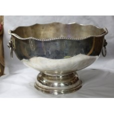 19th c. Large Silver Plated on Copper Two Handled Bowl