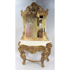 Large Carved Giltwood Marble Topped Console Table with Mirror