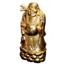Large Carved Wood Gold Leaf Laughing Buddha on Rocks