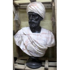 Large Classical Style Carved Marble Bust of Turbanned Man