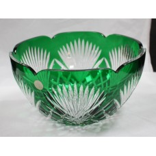 Large Cut Glass Green Overlay Crystal Bowl