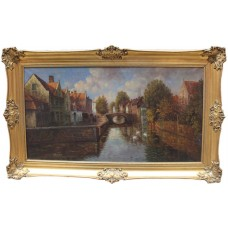 Large Dutch Landscape Oil on Canvas Set in Gilt Frame