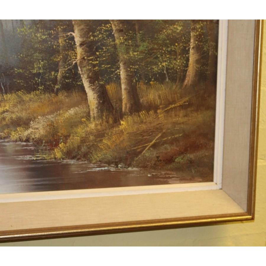 Large Framed Atmospheric Woodland Scene Landscape Painting