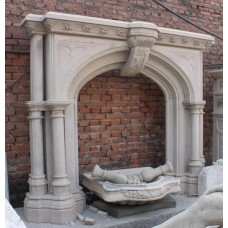 Large Carved Granite Gothic Style Column Fire Surround