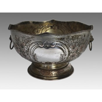 Large Hand Chased Silver on Copper Punch Bowl