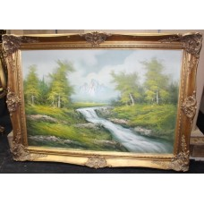 Large Landscape Painting Oil on Canvas Set in Ornate Gilt Frame