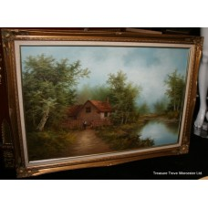 Large Landscape Painting Set in Gilt Frame