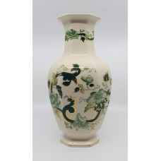 Large Mason's Chartreuse Pattern Octagonal Form Baluster Vase