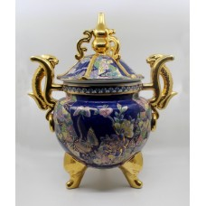Large Oriental Decorative Two Handled Lidded Urn