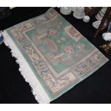 Large Patterned Green Thick Chinese Wool Rug