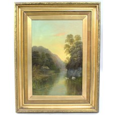 Late 19th c. English Landscape Painting Set in Gilt Frame